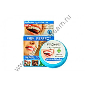 Тайская зубная паста Prim Perfect в круглой коробочке